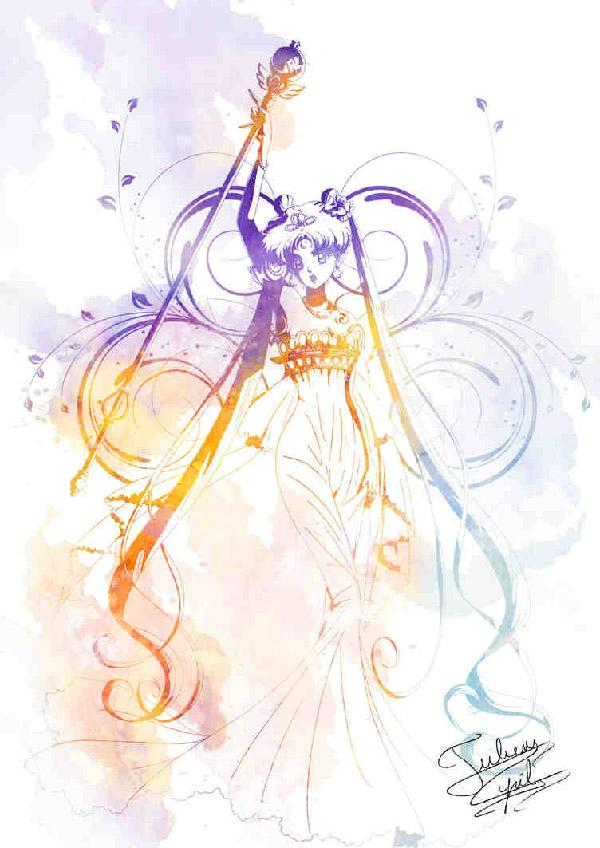 Simple yet colorful. This Sailor Moon art by Crisis-Cissou combines various colors in gradient giving the character life and at the same time keeping the entire drawing clean.