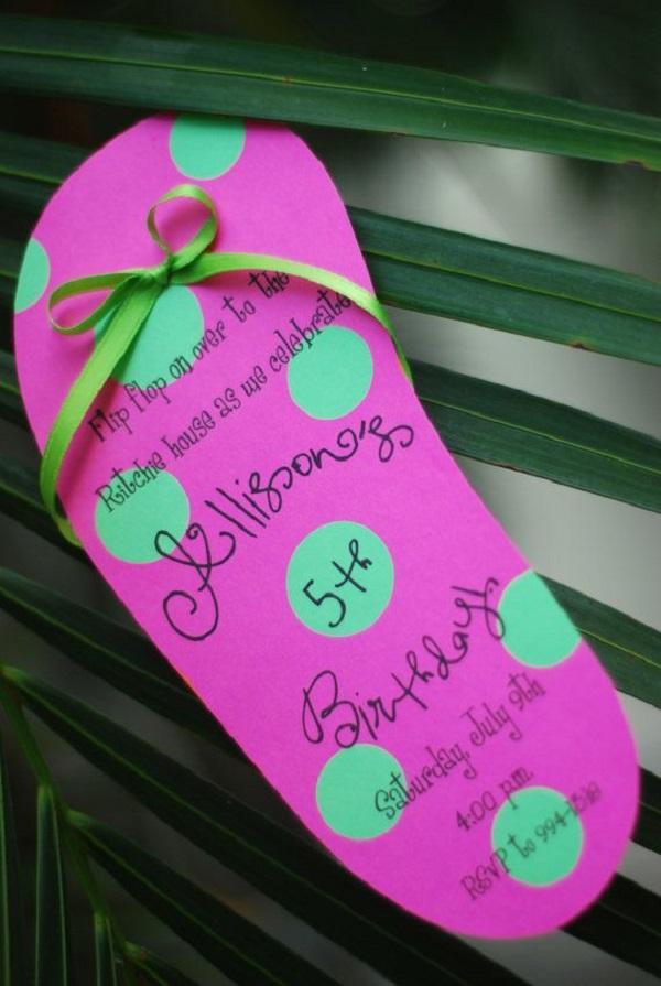 Summer Birthday Party For Girls_DIY Flipflop Invitation