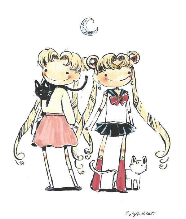 Simple, cute and adorable Usagi art by CaityHallArt. it features both the normal Usagi and the magical girl Usagi. They may live separate lifestyles but in the end of the day Usagi is still Usagi.