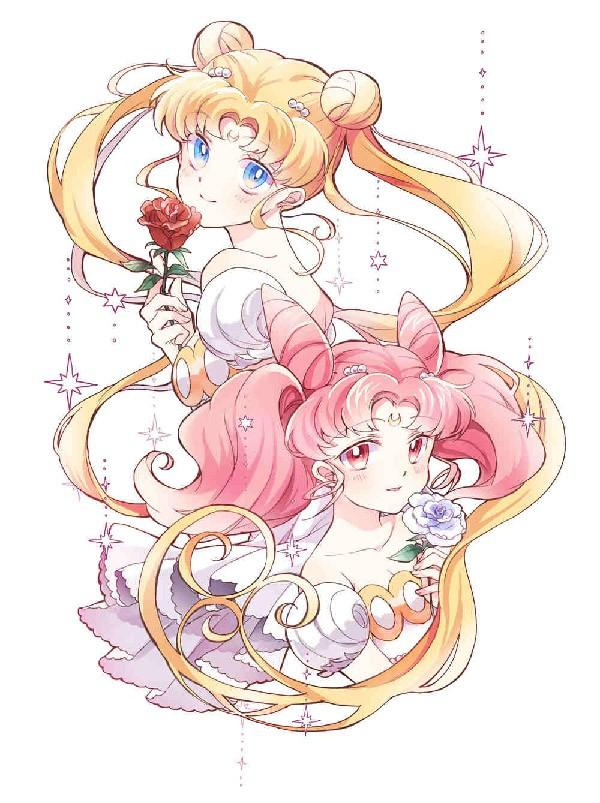 Usagi and Chibiusa art by Pixiv artist  by IKU♥1539. Both characters look wonderful and compliment each other with their hairs intertwined thus creating a frame for the drawing as well.