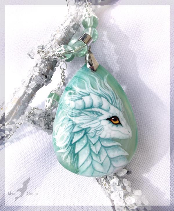 White Dragoness Stone Painting Necklace by Alvia Alcedo