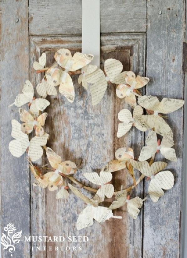 butterfly wreath wall deco