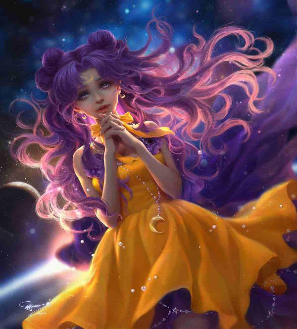 Mysterious yet beautiful. Sailor Moon art by sunmomo. Hair clad in  hints of pink and purple, it gives you a contrast of both Sailor Moon and Chibiusa at the same time.