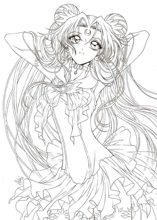 Line art drawing of Sailor Moon by sureya. What makes this stand out is because of the intricate details that the artist has paid attention especially on the hair and the dress.