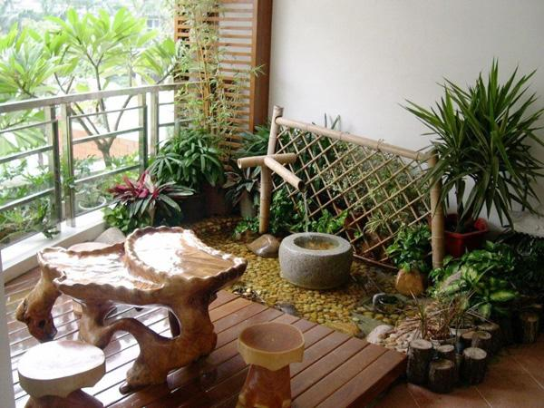 Make a mini waterfall pong with the help of wood and bamboo furniture. 55  Apartment Balcony Decorating Ideas   Art and Design