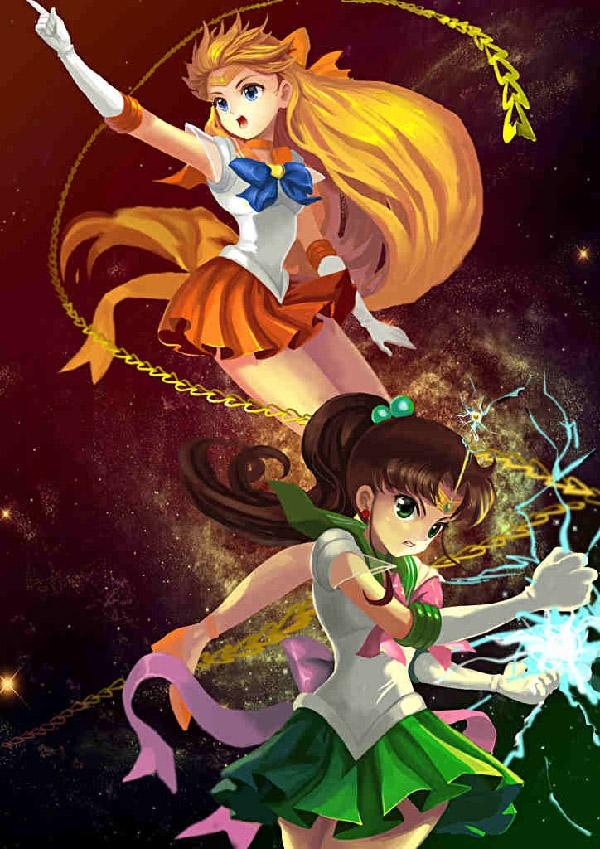 Fighting side by side as drawn by amg192003. Sailor Jupiter and Sailor Venus show off their abilities and powers in this illustrations as well as how nasty they can get in battle.