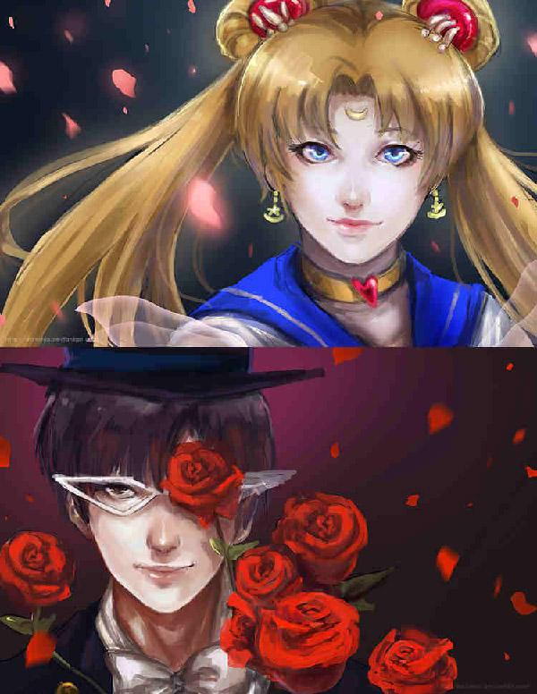 Looking like star crossed lovers, the artist  by darkshia did a very good job in connecting the rose petals from Tuxedo Mask to Sailor Moon. On the other the different colors of the rose petals represent the personality of each one.
