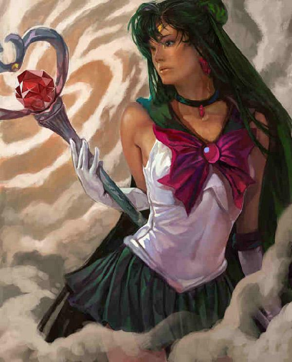 Artist k-BOSE has given Sailor Pluto a rather mature look in this art. The tanned skin and mature features gives the impression that sailor Saturn knows how to fight evil and still maintain a super model like bod.