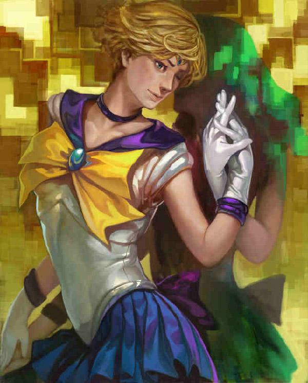 Using a watercolor paintbrush for this digital art by k-BOSE, it is still able to capture the digital pixelation behind Sailor Uranus. The silhouette of Sailor Neptune can be somewhat seen and the painting effect of the art proves to be perfect for her shadowy figure.