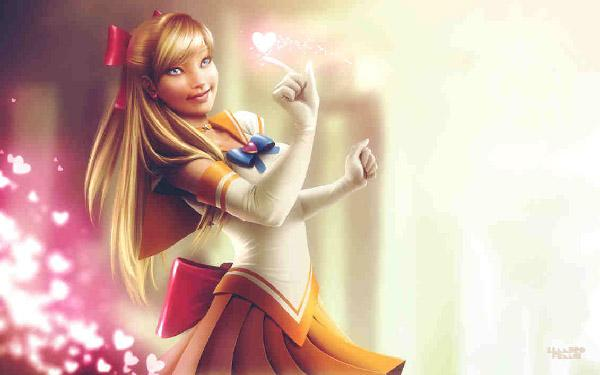 Sailor Venus  by lenadrofranci, where she looks somewhat like a combination of Disney and Anime with a hint of cuteness. The cute pink hearts that follow Sailor Venus look great as it gives us the impression that she is a fun loving and sweet girl.