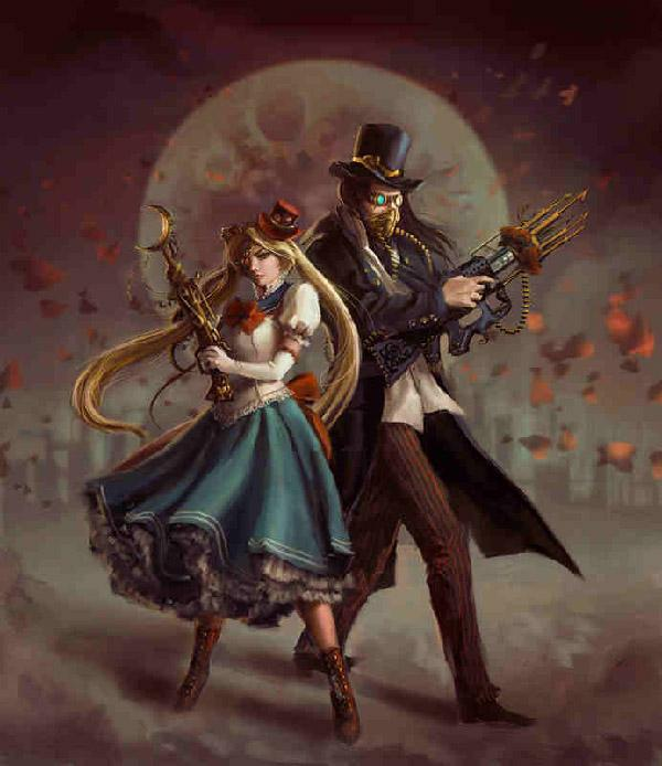 When it comes to alternate universe, this very creative art by  anotherwanderer would take the bag. Sailor Moon and Tuxedo Mask are both depicted as to live in the Steampunk environment.