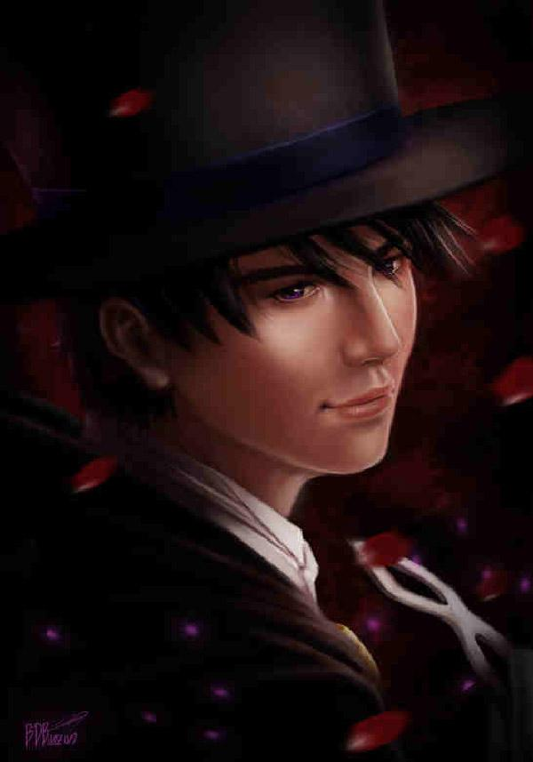 Realistic drawing of Tuxedo Mask by BDBonzon. The soft edges and colors used in the drawing gives off the vibe that Tuxedo Mask is very caring and gentle on the inside.