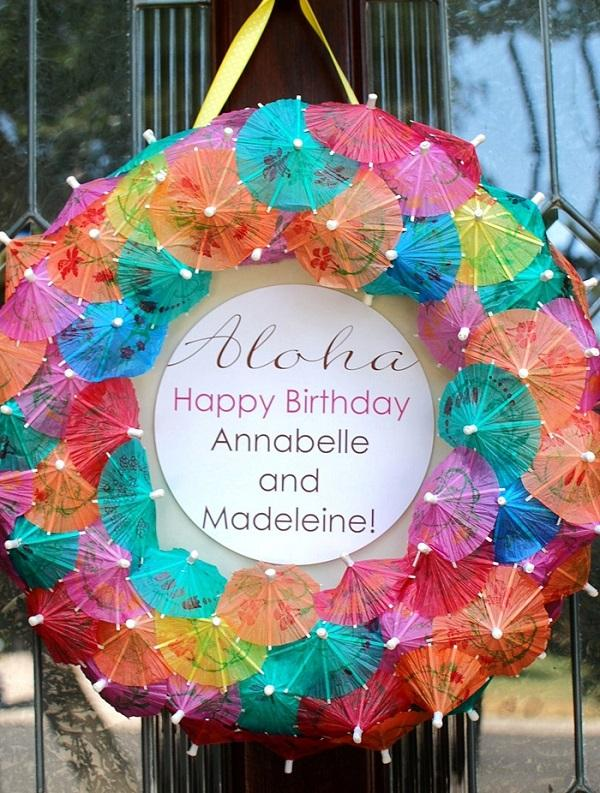 Summer Birthday Party For Girls_DIY Paper Umbrella Wreath