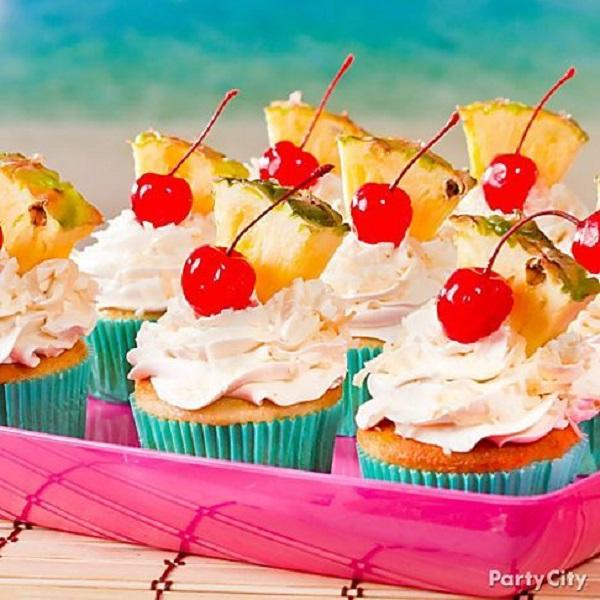 Summer Birthday Party For Girls_DIY Pina Colada Cupcakes
