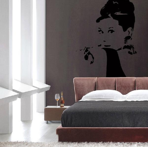 Elegant Audrey Hepburn wall decal Beautiful Wall Decals Ideas