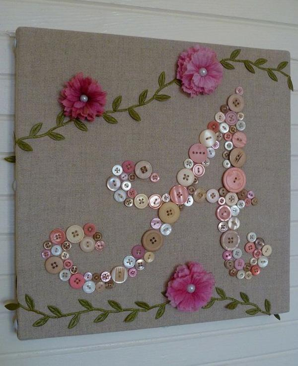 Baby Monogram Button Letter