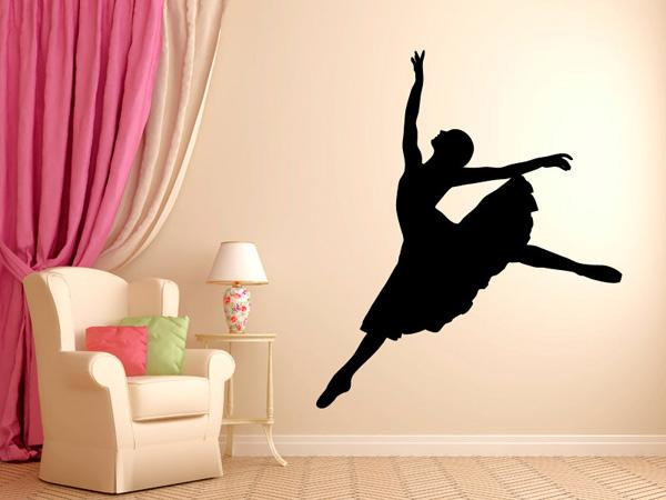 Unique The silhouette of dancing ballerina wall decal along with the massive pink curtains