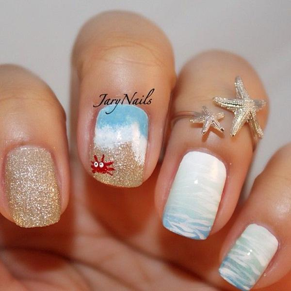 65 lovely summer nail art ideas art and design hit the waves with this adorable looking and beach inspired nail art design the colors pin it prinsesfo Gallery