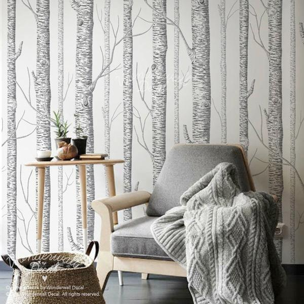 The old reader - Birch tree wallpaper peel and stick ...