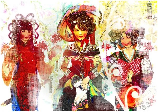 CHINA-KOREA-JAPAN SangSang's interpretation of three ladies from three different countries. Created using watercolor, marker pens and edited via Photoshop. (Left-Right: China, Korea & Japan)