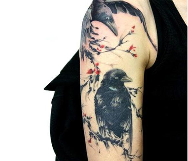 top 9 raven tattoo designs with meanings styles at life. Black Bedroom Furniture Sets. Home Design Ideas