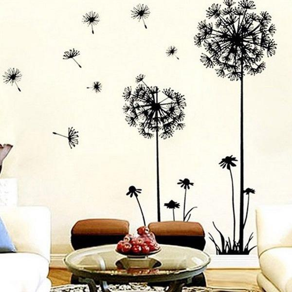 Cool A fantasy themed living room embellished by the wonderful dandelion wall art sticker made by removable
