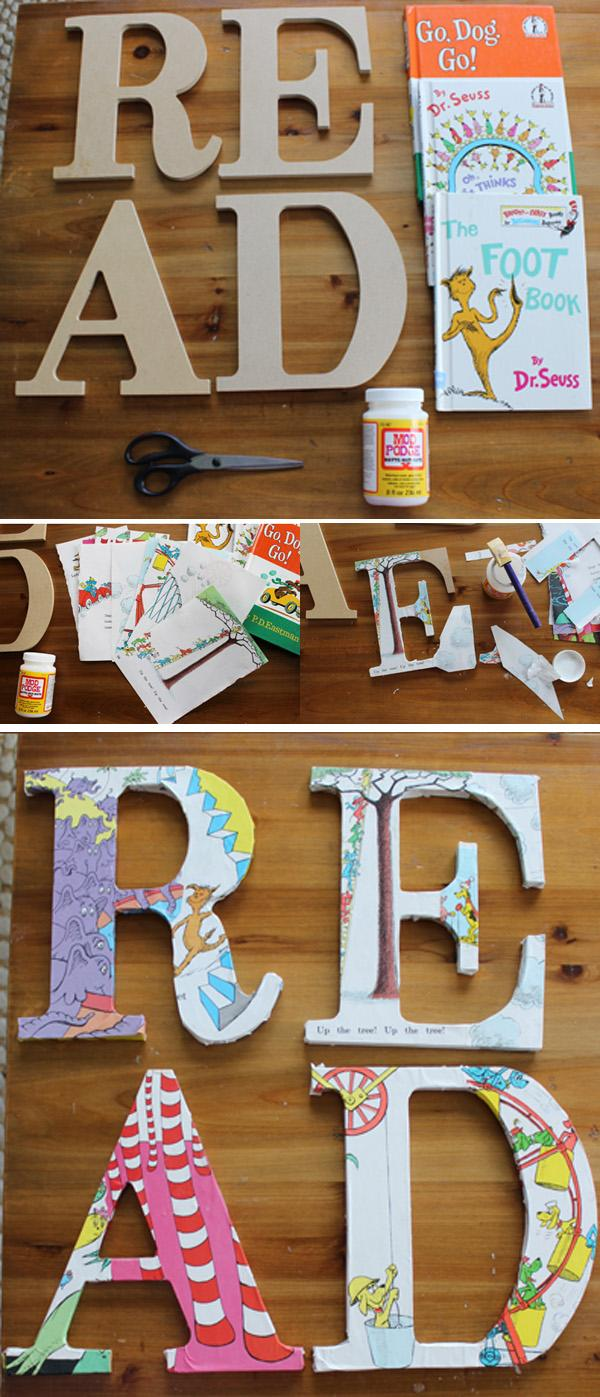 DIY DECOUPAGE DR. SEUSS READ SIGN FOR CHILDREN'S BOOK NOOK
