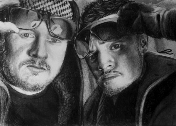 DAVE & ADAM A traditional drawing of Cardiff based entrepreneurs, Dave & Adam.