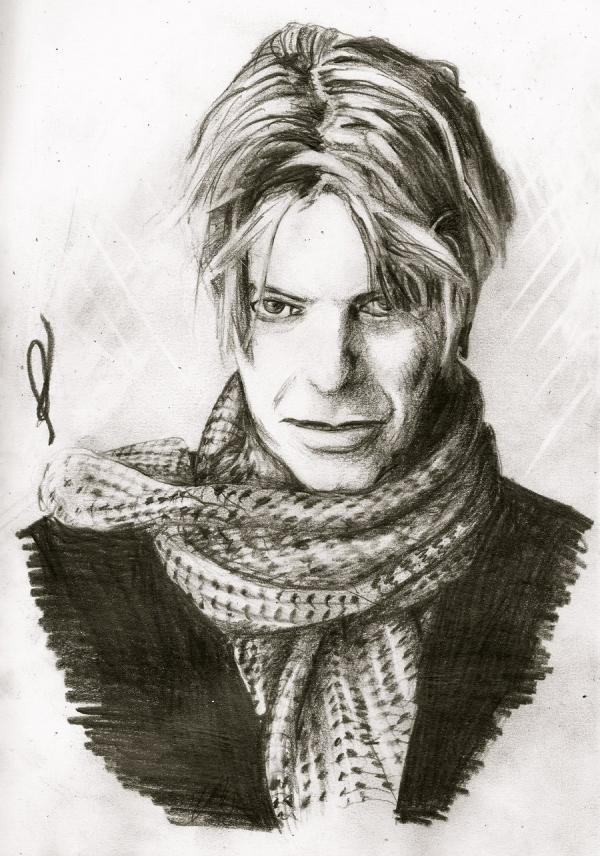 BOWIE A traditional drawing of the famous singer, David Bowie.