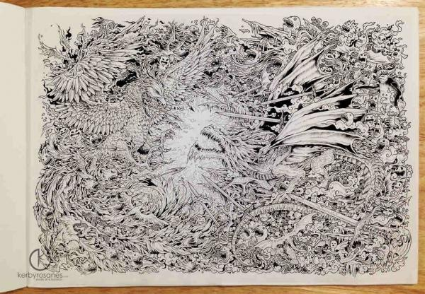 FIRE AND ICE (A doodle about the collision between a phoenix on fire and an icy dragon.) - 11 x 16 inches - Uni Pin Fineliners - approximately 14 hours of doodling
