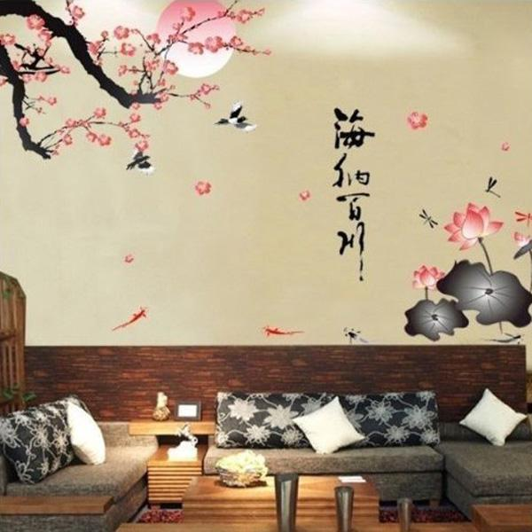 Fancy Generic GEN All River Into the Sea Plum Blossom Lotus Flowers Removable Wall Sticker