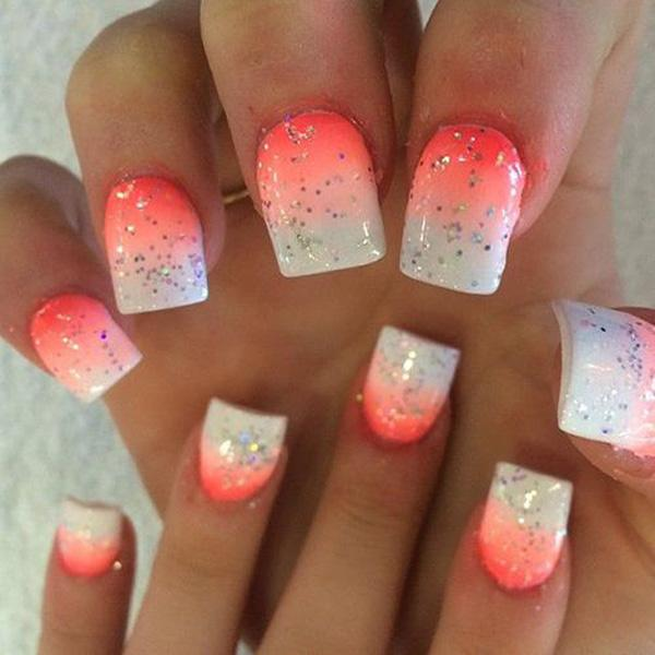 Gradual change orange and white nail art for summer-33