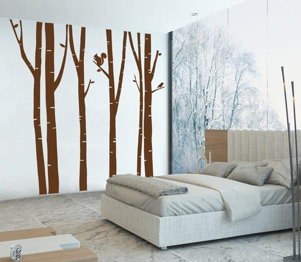 bedroom wall decal of mural squirrel woods birch stickers the different hues of two walls - Wall Art Design Decals
