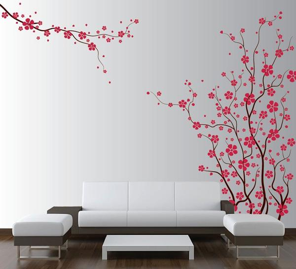 Cute Wall Decal of Japanese Magnolia Cherry Blossom Flowers Love the cute style