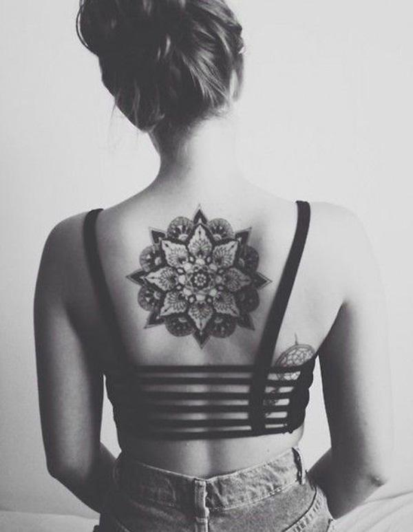 Mandala Back Tattoo for Girl-29