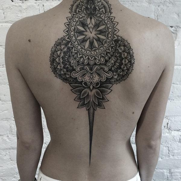 Mandala Back Tattoo for Woman-21