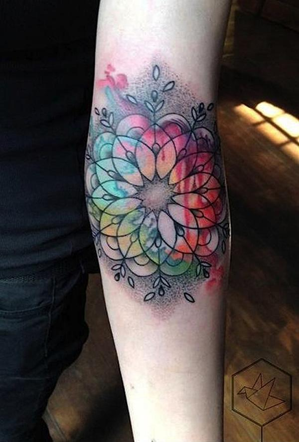 Mandala Watercolor Tattoo-23
