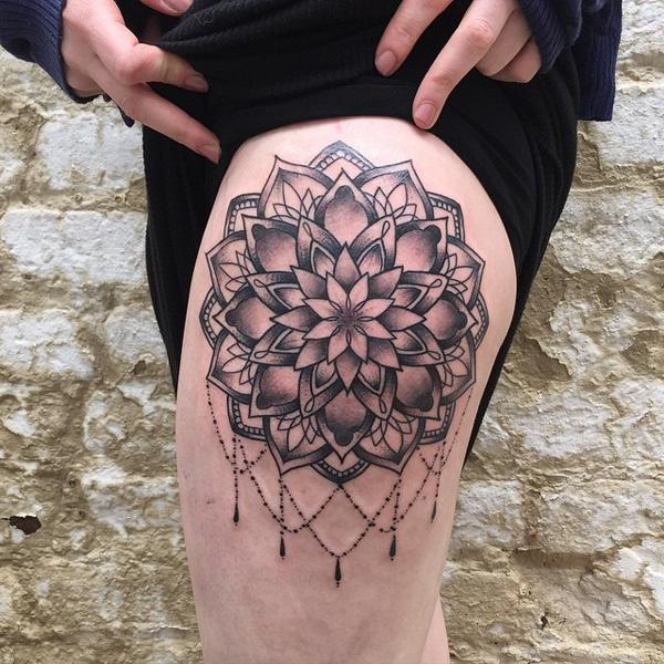 Mandala thigh tattoo-16