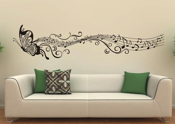 Cute Music Butterfly Wall Decals Beautiful Wall Decals Ideas