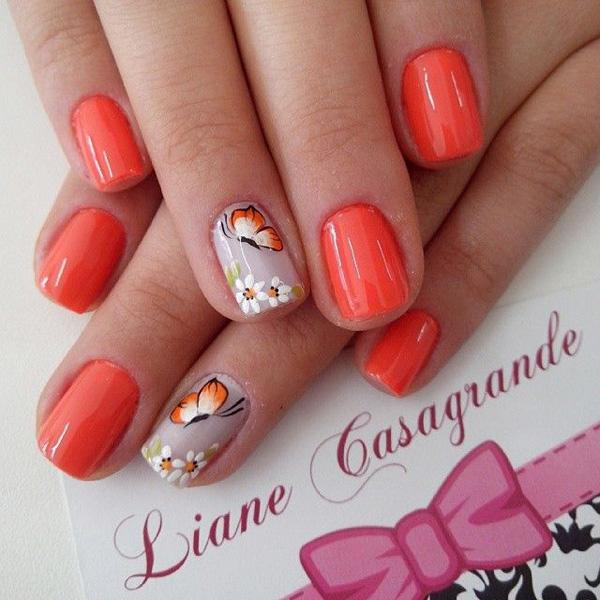 Orange and butterfly nial art for summer-23