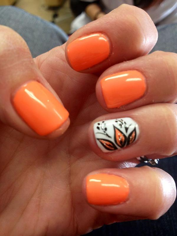 Orange Summer Nial   65 Lovely Summer Nail Art Ideas ...