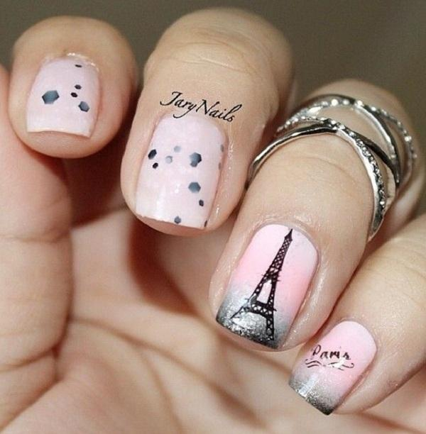 Pink and  Eiffel Tower - romantic French maricure - 600