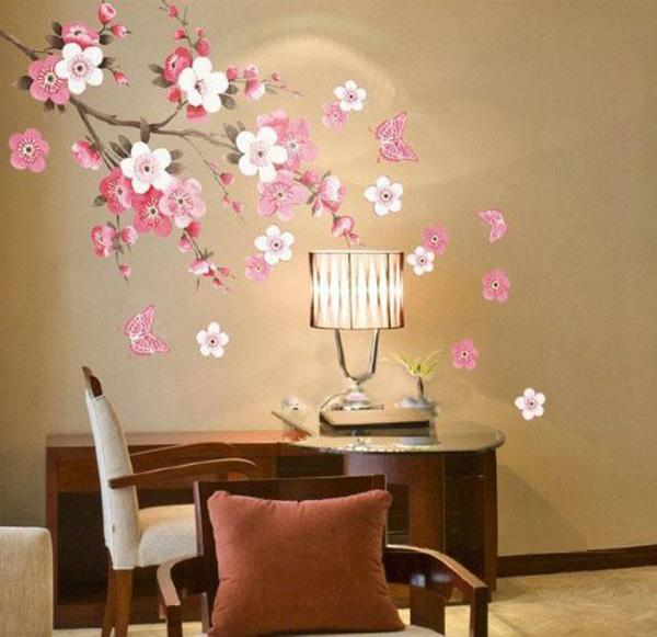 Fancy Plum Blossom Flowers Butterfly Wall Decal Home Sticker Beautiful Wall Decals Ideas