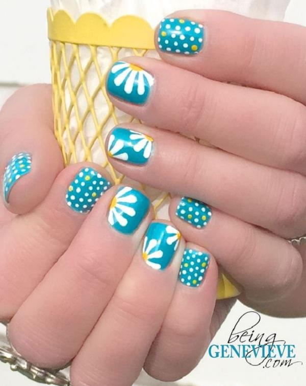 Polka dots and daisy petals nail art - 30+ Adorable Polka Dots Nail Designs  ... - 30+ Adorable Polka Dots Nail Designs Art And Design