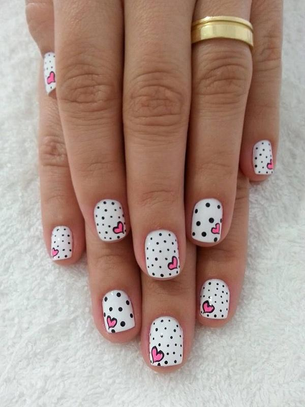 Polka dots and pink heart nail art - 30+ Adorable Polka Dots Nail Designs  ... - 30+ Adorable Polka Dots Nail Designs Art And Design