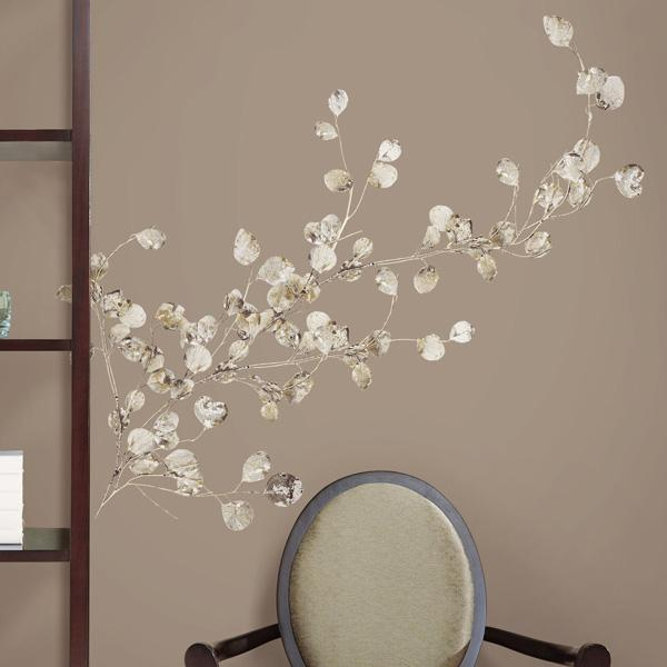 Beautiful ROOMMATES RMKGM Silver Dollar Branch Peel and Stick Giant Wall Decal Beautiful Wall