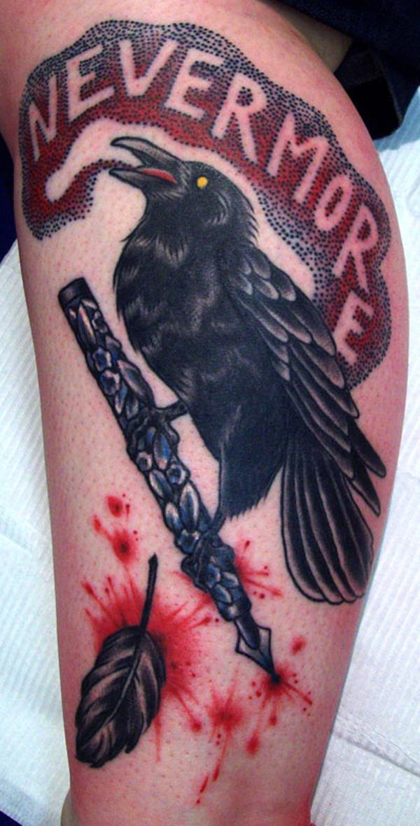 Raevn leg tattoo