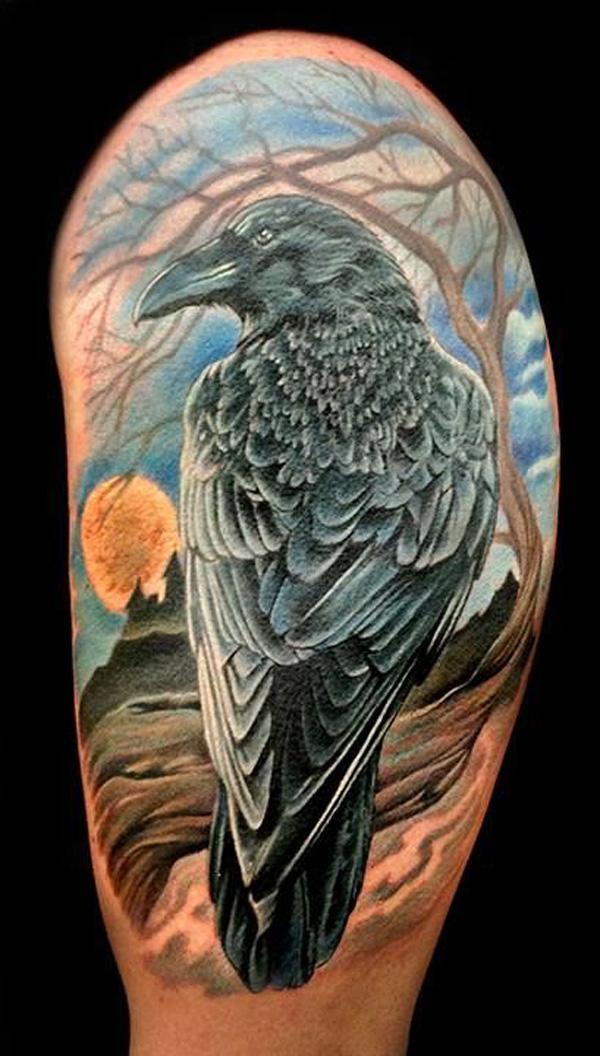 Raven Hlafsleeve Tattoo-11