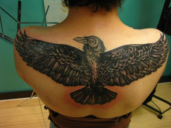 Raven Tattoo on Back-43