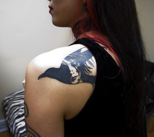 Raven Tattoo on Back for Women-8